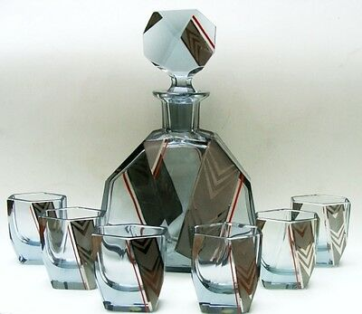 Antique Czecho Slovakia  Enamel Glass Decanter set with Tumblers Cups