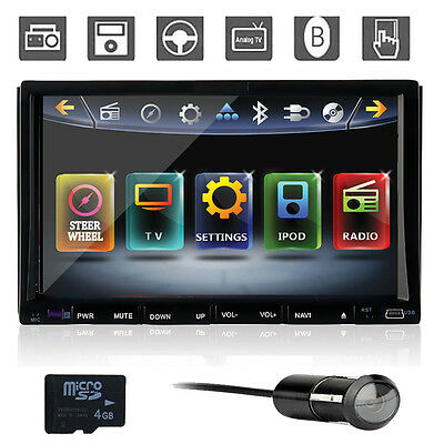 "2Din Car DVD Player Stereo with GPS 7"" LCD Touch Screen Audio Bluetooth+Camera"
