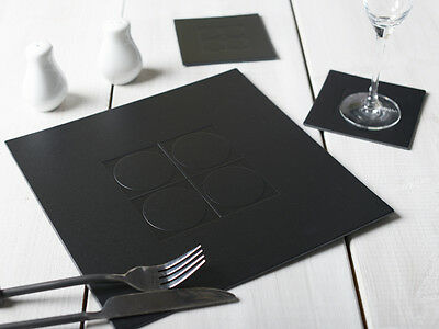 Set of 4 BLACK Emboss SQUARE Leatherboard PLACEMATS Table Mats & 4 COASTERS 8 pc