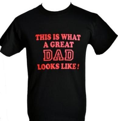 GREAT DAD ~ FATHERS DAY/B'DAY GIFT~ BLACK T-SHIRTwith RED DENIM  SIZE S-XXL