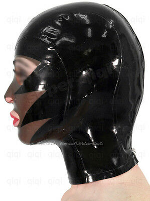 Latex/rubber/0.45mm mask/hood/costume/catsuit/suit/black/wear/totem/cool/smoke