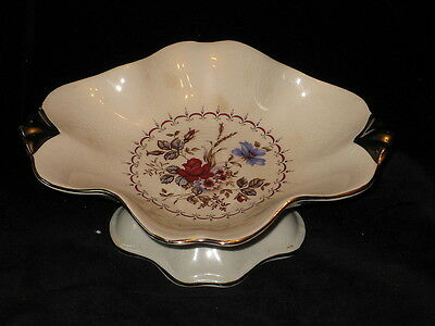 ROYAL WINTON - FLORAL CENTER / PLATINUM TRIM - FOOTED CANDY DISH - 16E