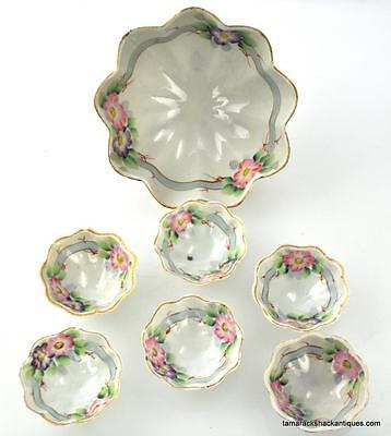 c1930s Japanese Porcelain 7pc Handpainted Purple Pink Floral Berry Footed Bowl