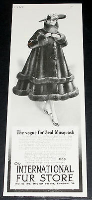 1916 Old Wwi Magazine Print Ad,  Intl Fur Store, Seal Musquash Coat Fashion Art!