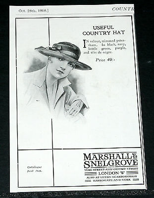 1916 Old Wwi Magazine Print Ad, Marshall & Snelgrove, Country Hat, Fashion Art!