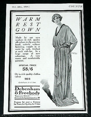 1916 Old Wwi Magazine Print Ad, Debenham & Freebody, Warm Rest Gown, Fashions!