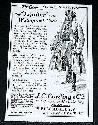 "1916 Old Wwi Magazine Print Ad, J.c. Cording ""equitor"" Coat, War Time Fashion!"