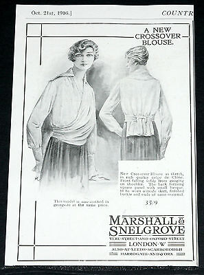 1916 Old Wwi Magazine Print Ad, Marshall & Snelgrove, New Crossover Blouse Art!