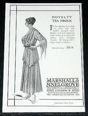 1916 Old Wwi Magazine Print Ad, Marshall & Snelgrove, Novelty Tea Frocks, Art!