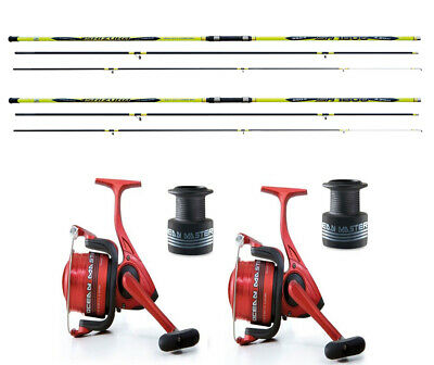 Lineaeffe Carbocast beachcaster rod 14ft Oceanmaster reel x2 sea fishing combo
