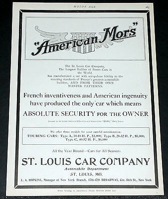 1907 Old Magazine Print Ad, St. Louis Car Co, American Mors Touring Street Cars!