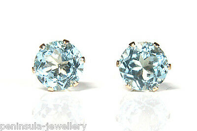 9ct Gold Blue Topaz 5mm Round Stud earrings Gift Boxed Made in UK