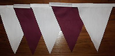 Fabric Bunting Burgundy & White Wedding Birthday Party Decoration 2 mt or more