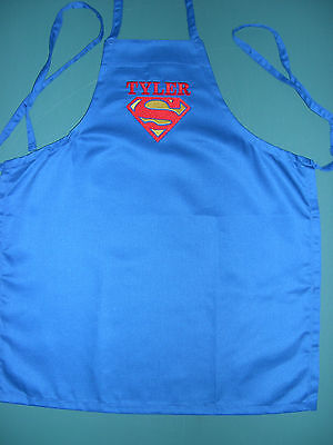 CHILD KID CHILD'S SUPERMAN ROYAL BLUE APRON PERSONALIZED SIZE SMALL 22 X 19 inch