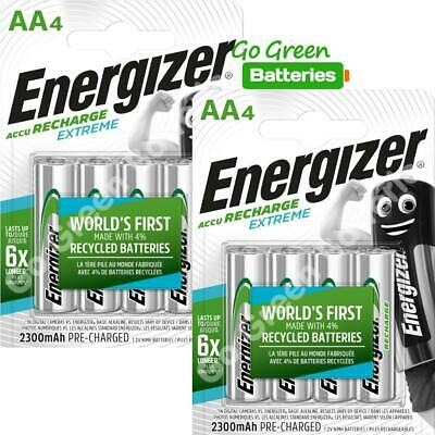 8 x Energizer AA 2300 mAh Rechargeable Batteries EXTREME Pre Charged NiMH LR6