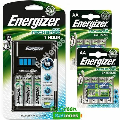 Energizer 1 Hour AA/ AAA Charger + 12 x 2300 mAh Rechargeable Batteries EXTREME