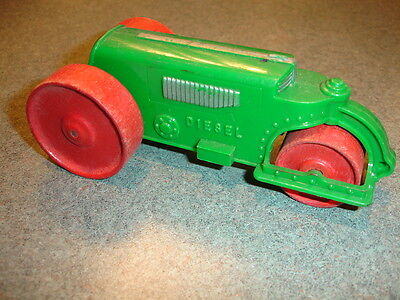 RARE Old Vtg Plastic Hubley Kiddietoy Toy Diesel Steam Roller Wood Wheels USA