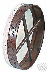 """CP Brand New Bodhran 18"""" Size Hand Carved Natural Brown Rosewood FREE Beater"""
