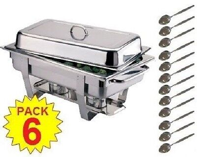 Pack 6 Omega S/steel 9 Ltr Chafing Dishes And 12 Spoons Free Next Day Delivery