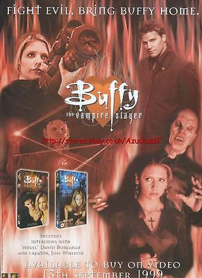 "Buffy The Vampire Slayer ""Buy On Video"" 1999 Magazine Advert #4492"