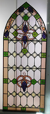 OLD ENGLISH VICTORIAN ARCHED STAINED GLASS WINDOW with Hand Painted Grape Design