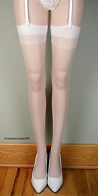 SHEER PLAIN TOP Thigh High Stockings 1725 WHITE O/S & PLUS