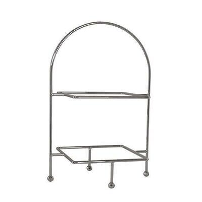 Square Display Stand 2 Tier, Chrome Plated, High Tea / Cake / Platter / Catering