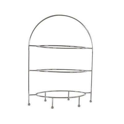 Oval Display Stand, 3 Tier, Chrome Plated, High Tea / Cake / Platter / Catering