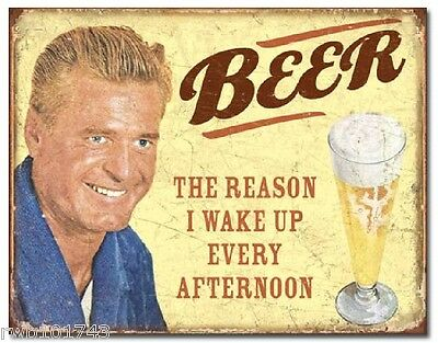 Beer The Reason I Wake Up FUNNY TIN SIGN metal poster home bar wall decor 1749