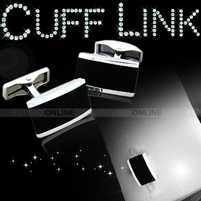 New Mens Cufflinks Silver Pure Metal Black Rectange Wedding