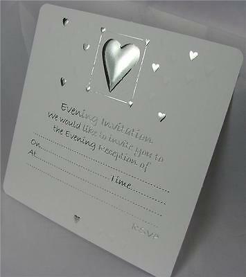 50 White Wedding Evening Invitations Silver Embossed Design Envelopes Included