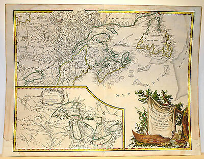 Carta geografica antica Old Map CANADA UNITED STATES Terranova Vaugondy 1755