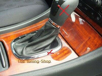 For Mercedes C Class W203 Auto Black Genuine Leather Shift Boot Gaiter Cover