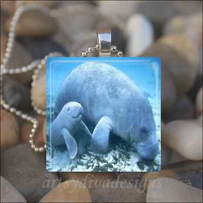 Mother Baby Manatee Love Dolphin Mothers Day Glass Tile Pendant Necklace Keyring