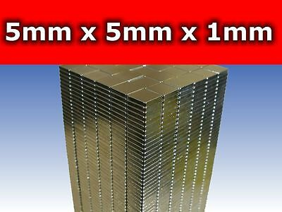 150 x Pieces Rare Earth Neodymium Magnets N50 5mm Wide x 5mm Deep x 1mm Thick