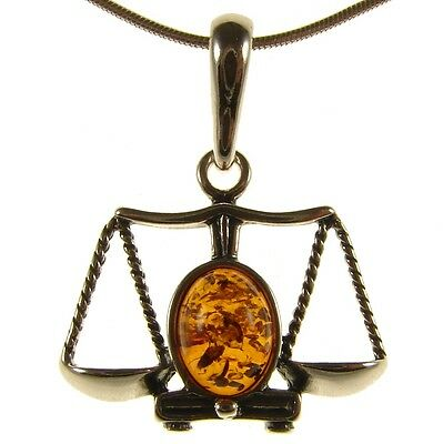 Baltic Amber Sterling Silver 925 Libra Astrology Pendant Jewellery Jewelry Gift