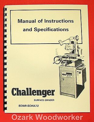 BOYAR-SCHULTZ H612 H618 Surface Grinder Challenger Instruction Parts Manual 0071