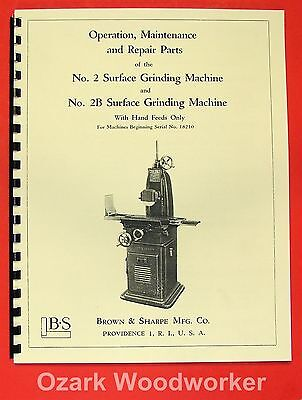 BROWN & SHARPE No. 2 & 2B Surface Grinder Parts Manual 0087