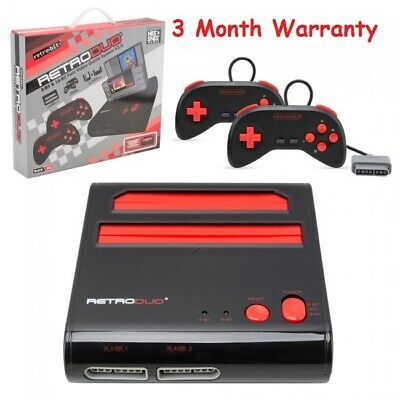 """Retro Duo Console SNES & NES Dual 2in1 System -Red/Black -2 Controllers """"New"""""""