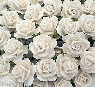 50 White Mulberry Paper Flowers Wedding Party Rose Card Home Decoration ZR3-15
