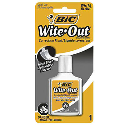 NEW Bic White Out Correction Fluid Foam Brush 0.70 Ounces
