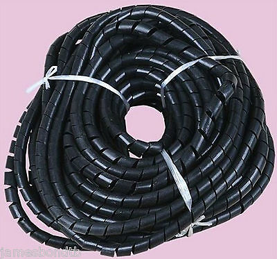 10mm 32.8FT (10M) Spiral Cable Wire Wrap Tube Computer Manage Cord Black