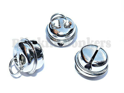 3 Large Big Loud Noisy Silver Chrome Metal Cats Kitten Collar Bells Tag