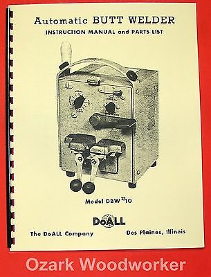 DOALL Butt Welder DBW #10 Operator's and Parts Manual 0273