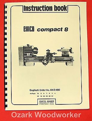 EMCO Compact 8 Metal Lathe Instructions Manual 0293