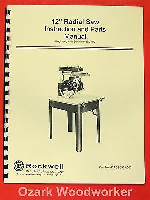 "ROCKWELL/Delta 12"" Radial Arm Saw Instruction & Part Manual 0624"