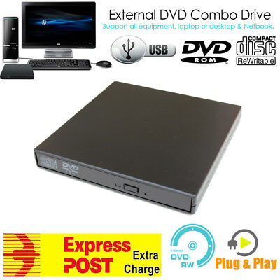 USB DVD-ROM CD Disc Player CD RW Re-writer Burner Combo Win 7/8/10 Mac OS X