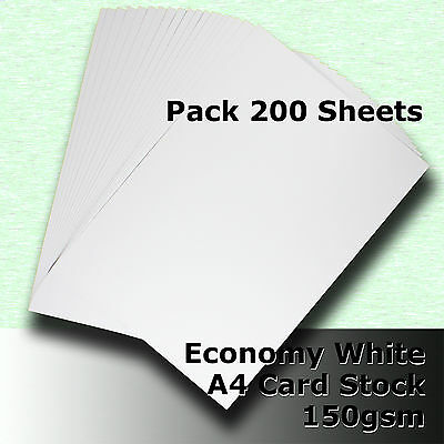 200 Sheets Economy Card Stock WHITE A4 Size 160gsm #H5108