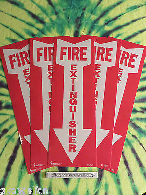 "(Lot Of 5) Self-Adhesive Vinyl ""fire Extinguisher Arrow"" Sign's...4"" X 12"" New"