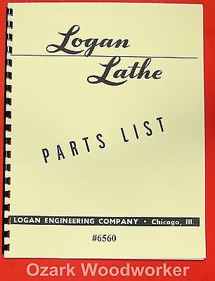 "LOGAN 14"" Metal Lathe 6560 Parts List Manual 0454"